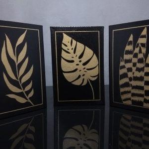Kit Folhas Preto & Dourado
